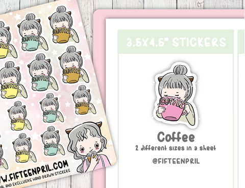 F003-Need Coffee Foxigirl sticker