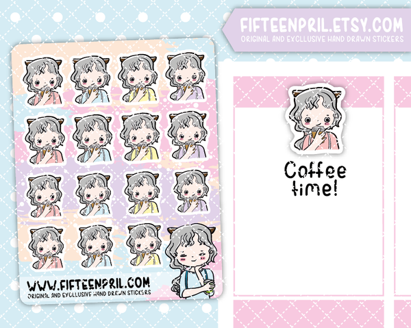 F003-Coffee Foxigirl sticker