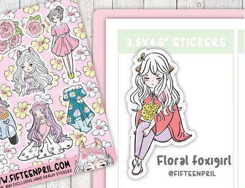 F066-Floral foxigirl deco stickers