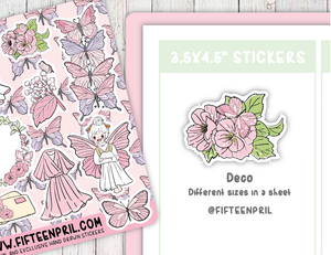 F086-Pink butterfly foxigirl sticker