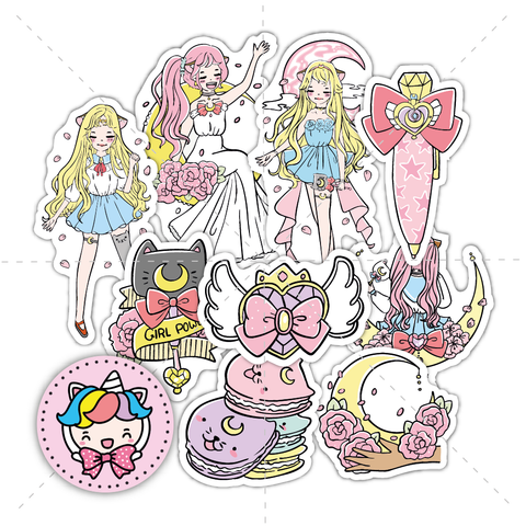 Moon magical foxigirl diecut set