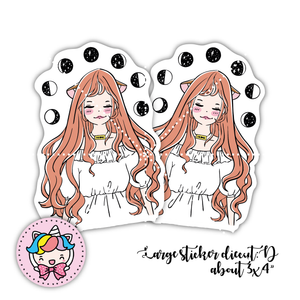 Moon phase foxigirl large sticker diecut