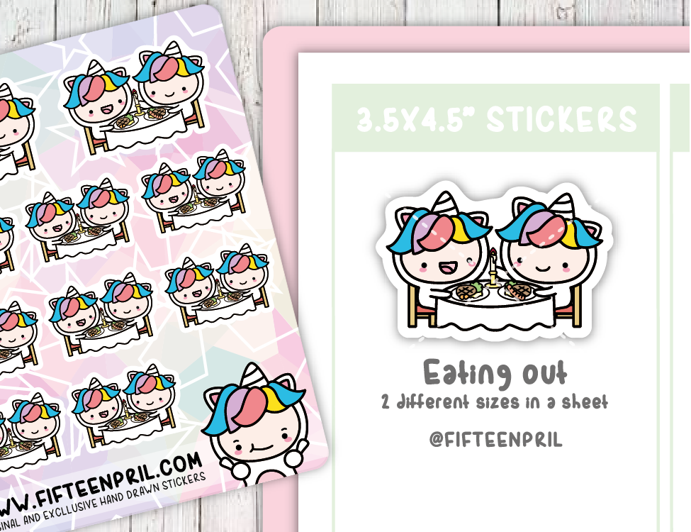 U004-Eating out Unikin stickers