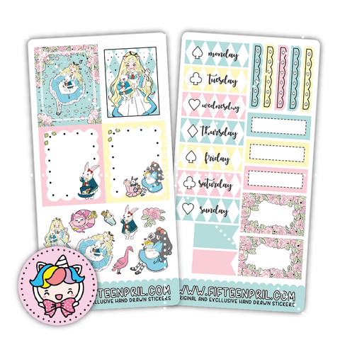 Alice inspired ECLP mini week sticker kit