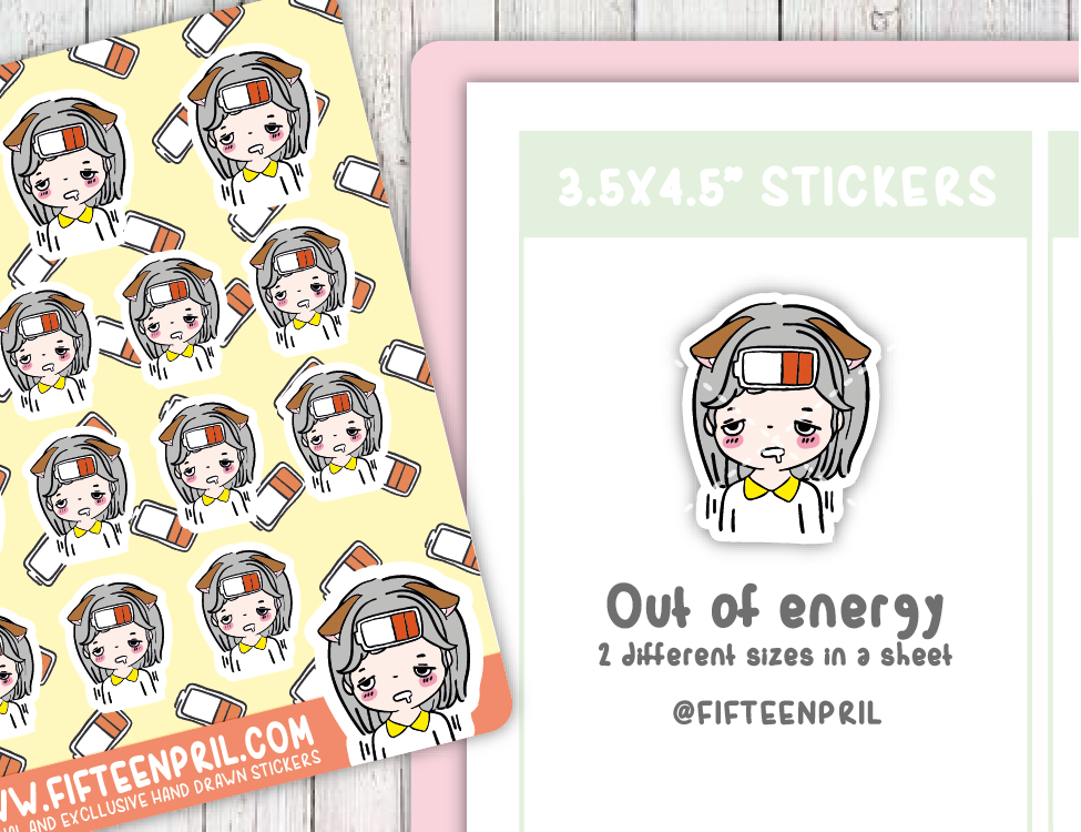 F088-Out of energy Foxigirl sticker