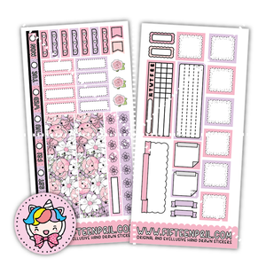 Flower foiled Mermaid hobonichi sticker kit