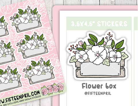 F066-Roses/ floral wooden box stickers