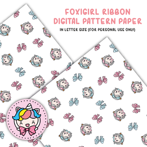 Foxigirl ribbon digital paper (digital files only)