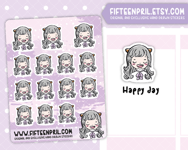 F0055- Happy/Satisfying day Foxigirl sticker