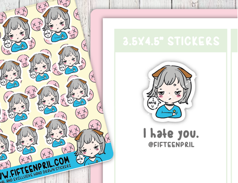 F083-I hate you Foxigirl sticker