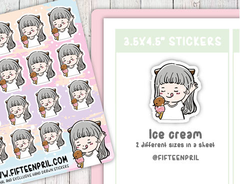 F007-Ice Cream Foxigirl sticker