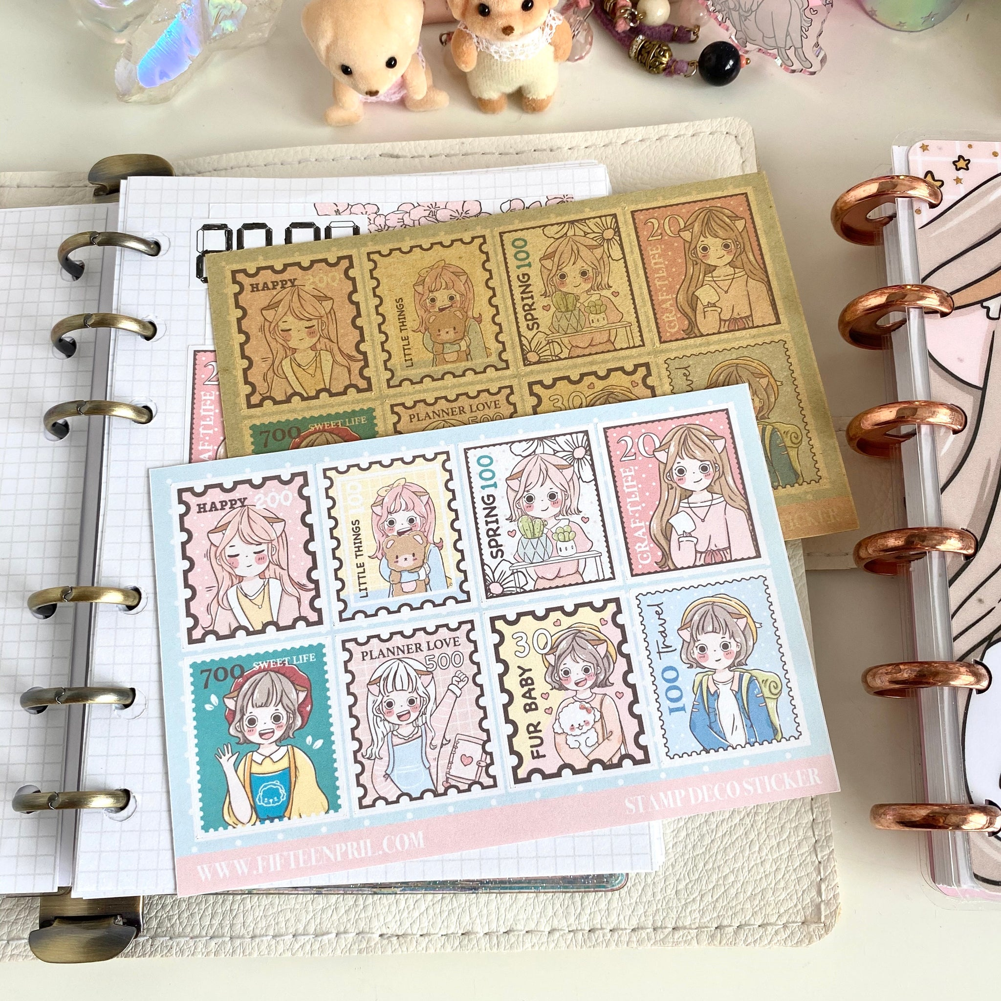 Stamp style foxigirl Large sticker