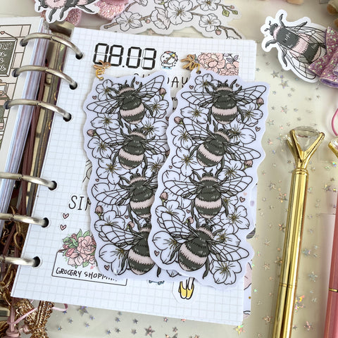 Bees + cherry blossom foxigirl Bookmark-LIMITED QUANTITIES ONLY!!