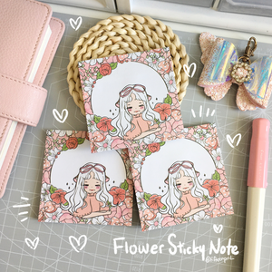 Flower foxigirl sticky note