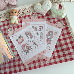 Peach foxigirl sticker set