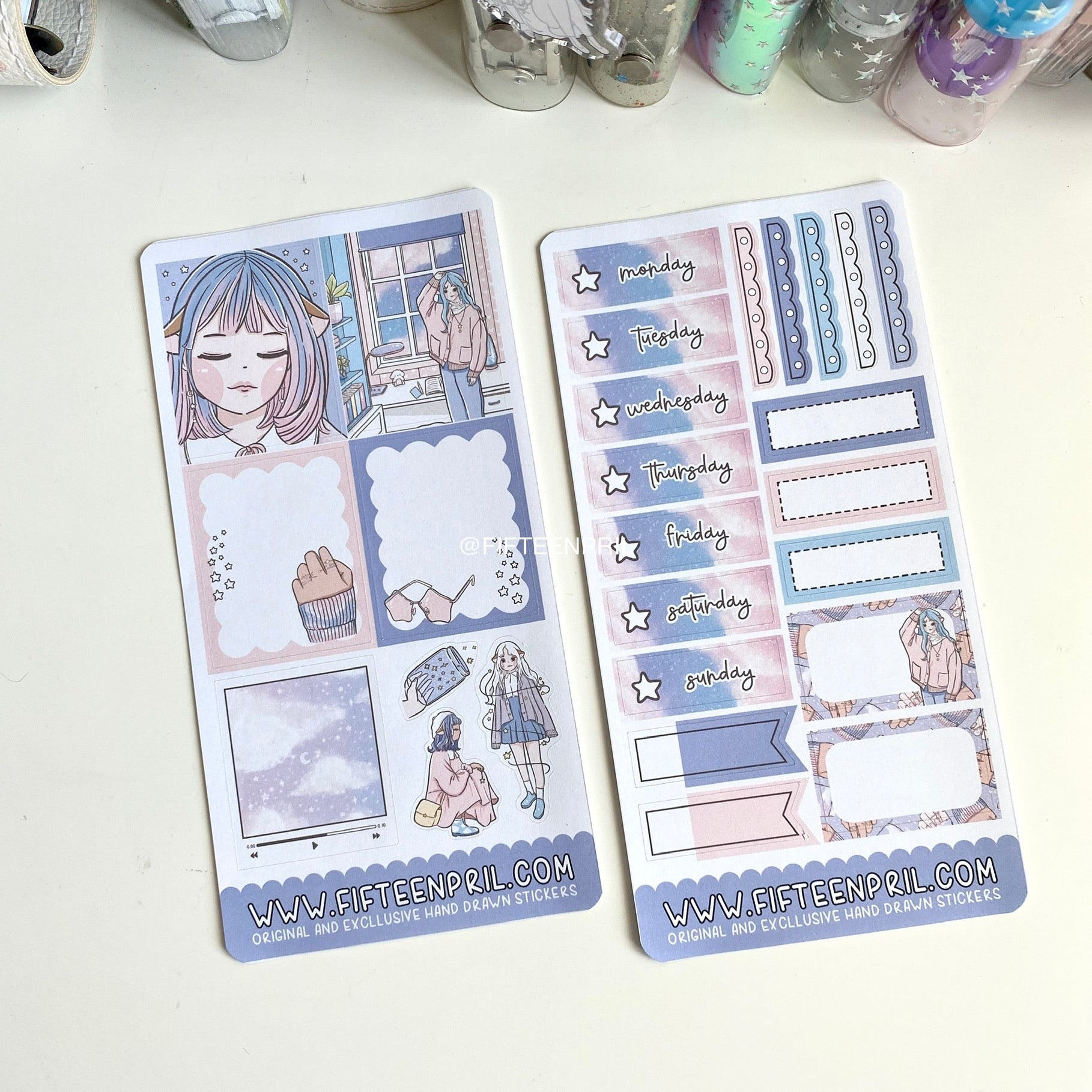 Starry sky PP mini week sticker kit