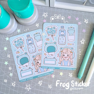 Frog foxigirl Large sticker