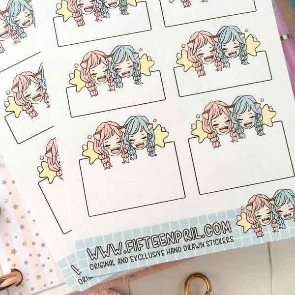 Twin planning foxigirl sticker sheet