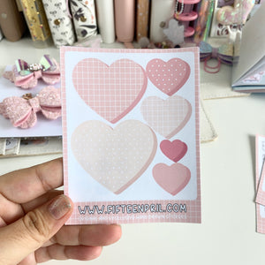 Bujo- Large grid heart stickers