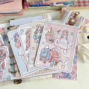 Snacking foxigirl sticker set