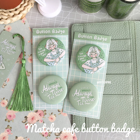 Matcha cafe button badge set foxigirl button badge