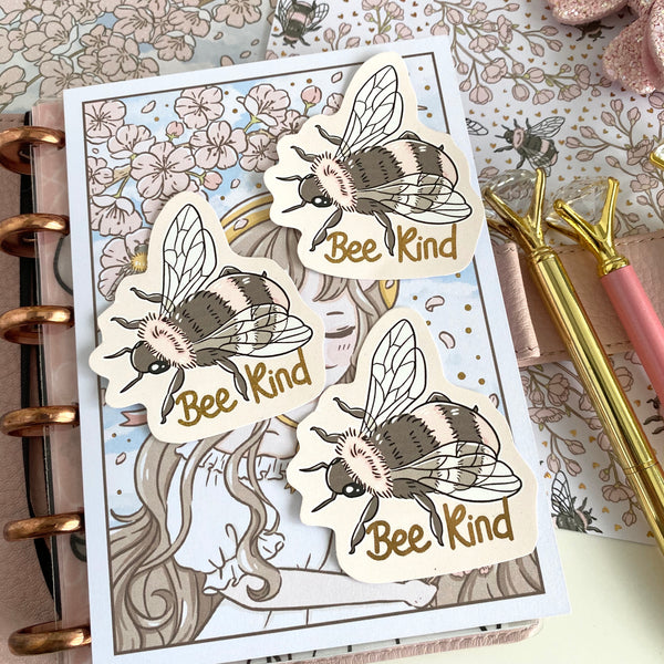 Bee Kind foiled LARGE Vinyl/PVC foxigirl diecut