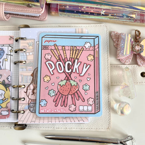 Snacking pepero/pocky sticker pocket