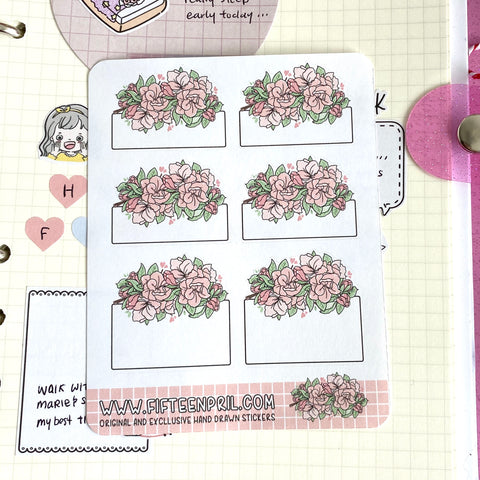 Pink flower roses functional sticker sheet