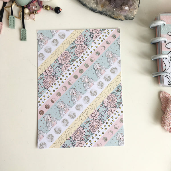 "White moon Washi style foiled dashboard- 5x7""/B6"
