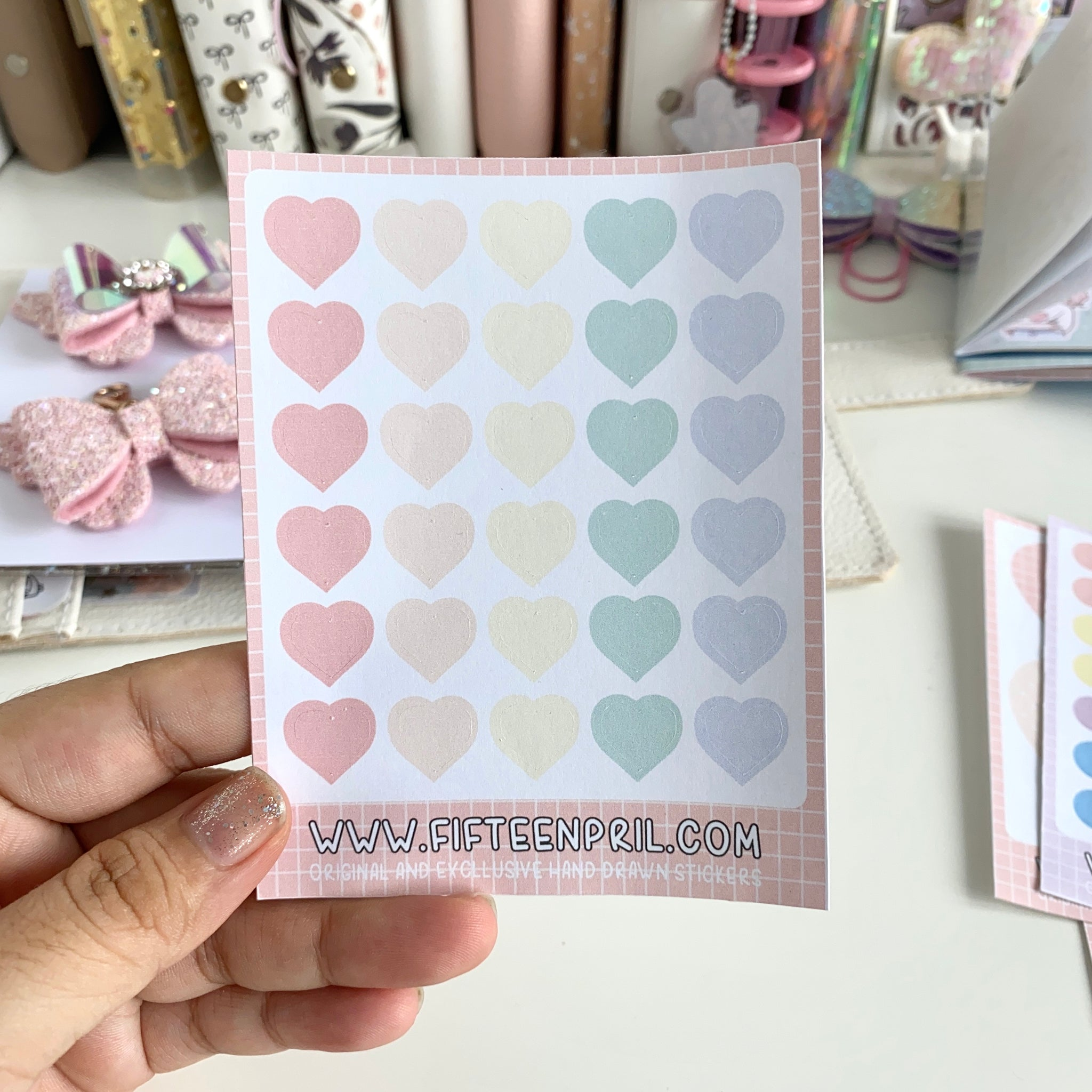 Bujo-Heart dots stickers