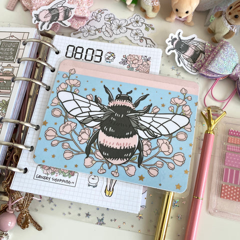 Bee with cherry blossom foiled sticker pocket
