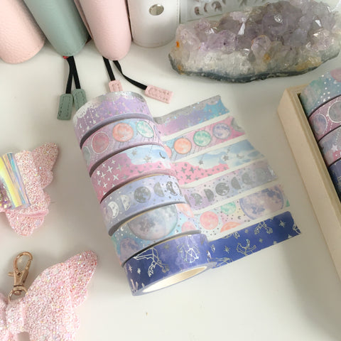 Pastel moon foiled washi roll