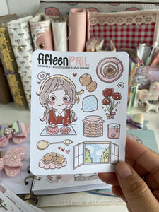 Tea time foxigirl Large sticker