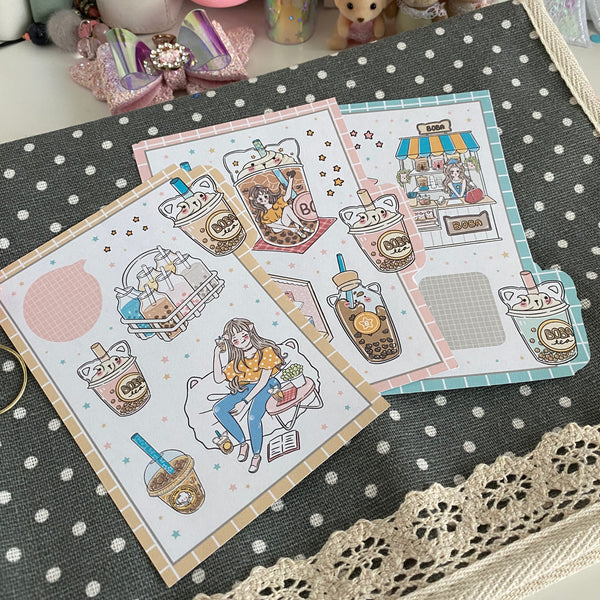 Boba tea foxigirl sticker set