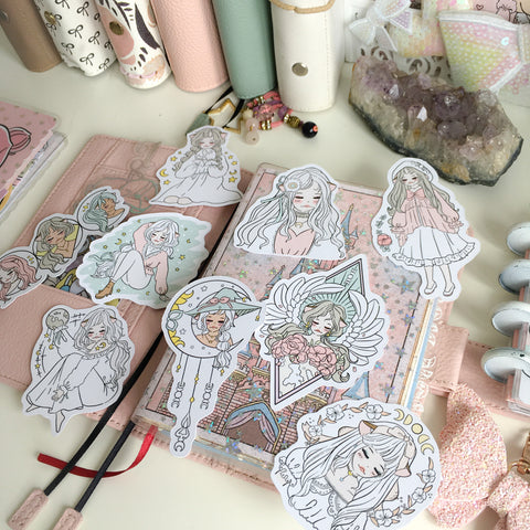 White moon foxigirl diecut set