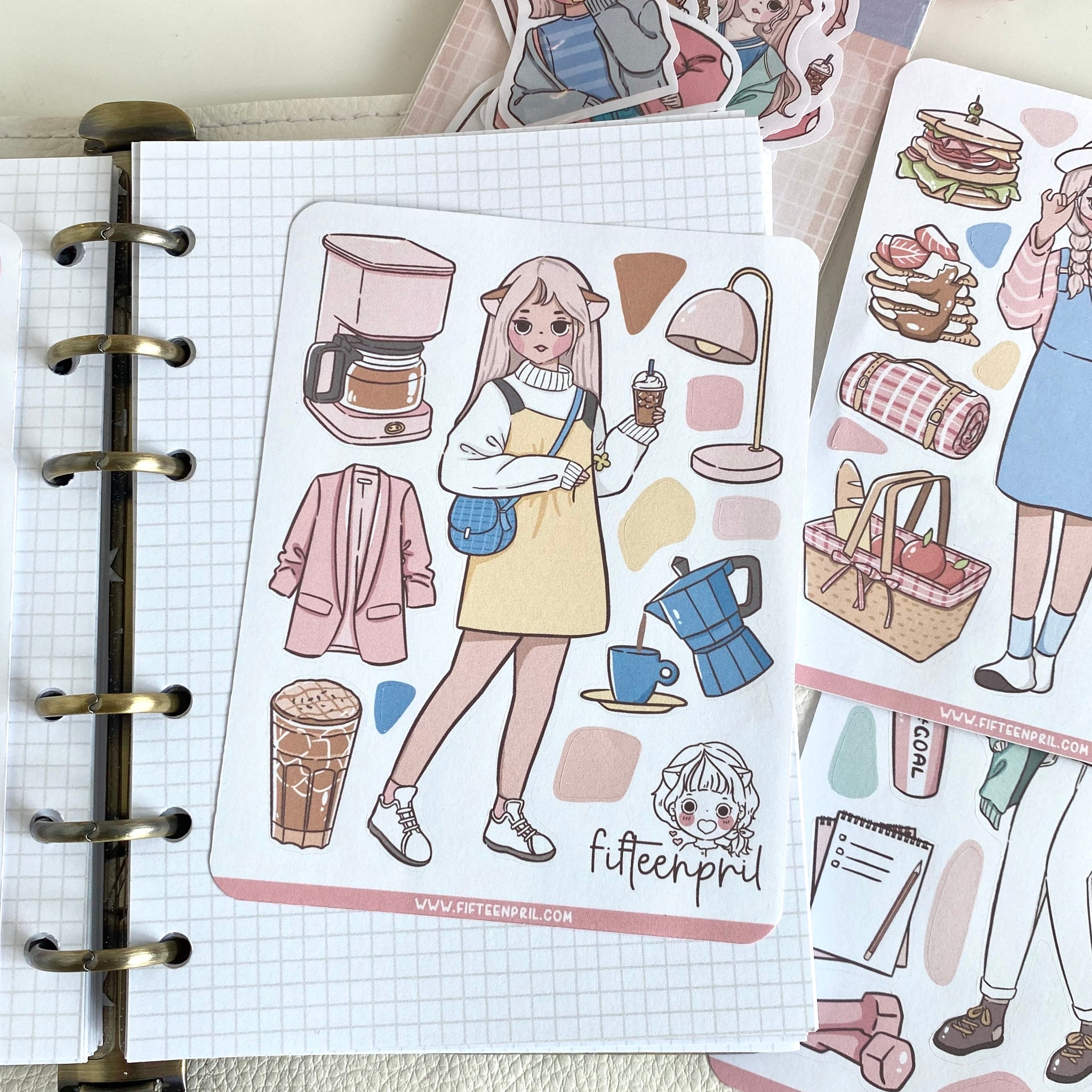 NEW-Coffee foxigirl deco sticker