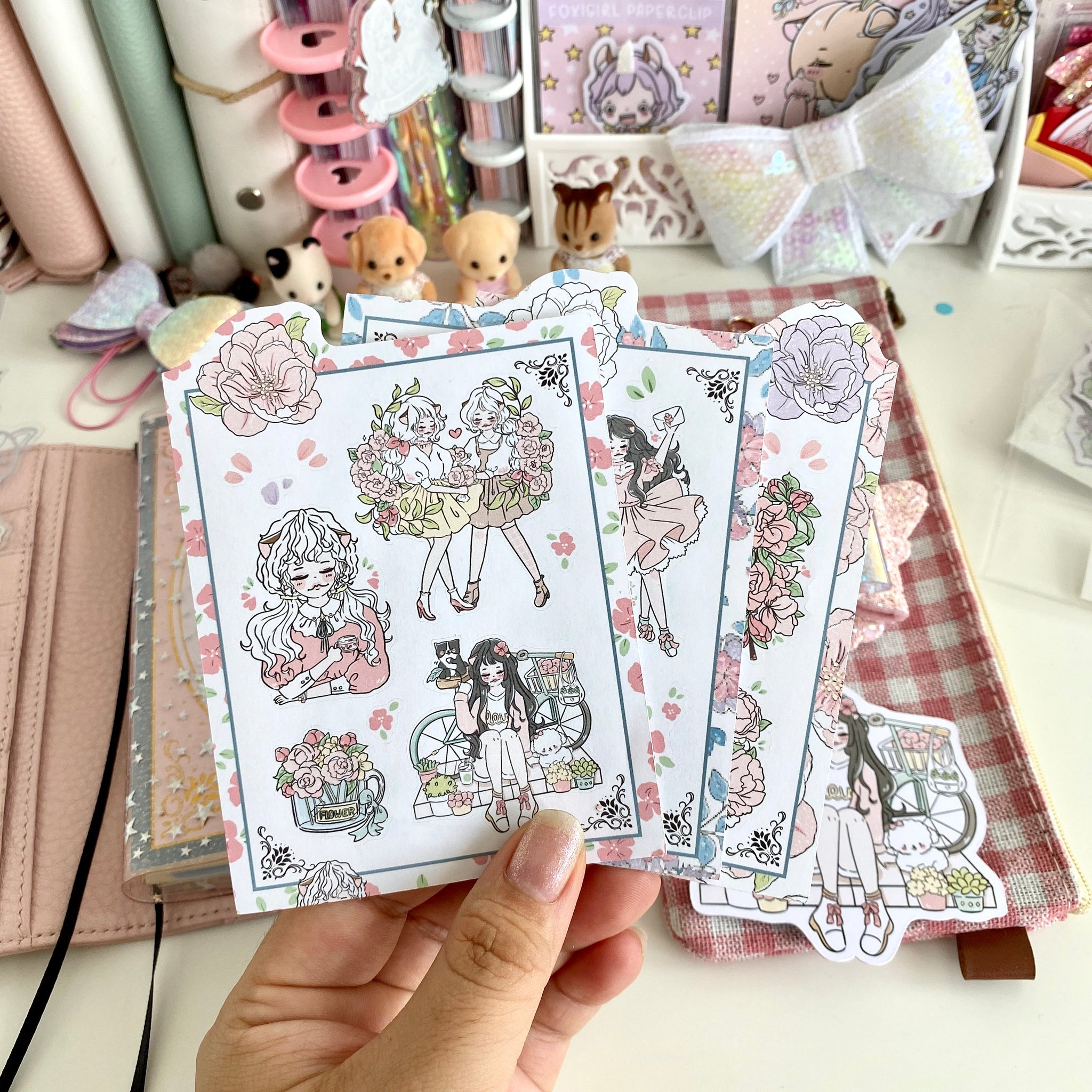 Floral foxigirl sticker set
