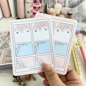 Cherry blossom pink and blue functional boxes sticker sheet