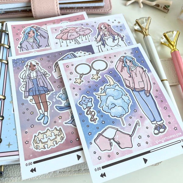 Starry Sky foxigirl sticker set⭐️🌟