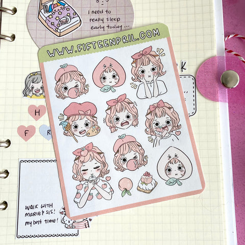 Peach foxigirl sticker sheet