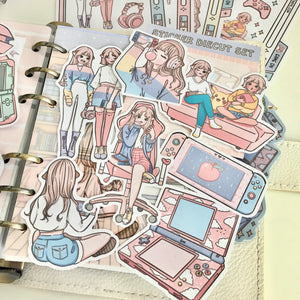 Gamer girl foxigirl STICKER or CARD STOCK diecut set