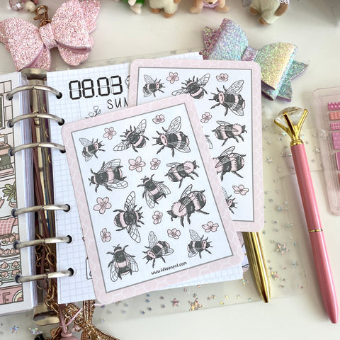 Pink bees foxigirl  sticker sheet-not in the bundle