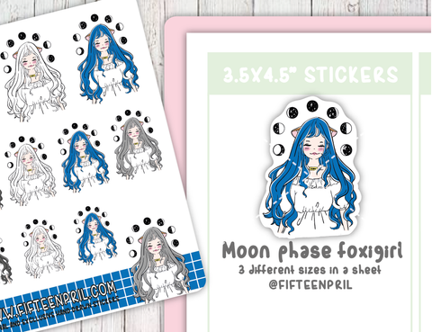 Moon phase foxigirl sticker