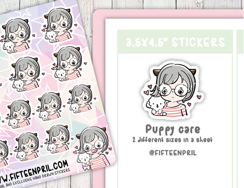 F001-Puppy care Foxigirl sticker