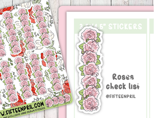 F066-Roses/ floral check list stickers
