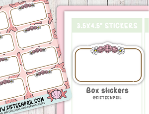 F089- Summer seashell box sticker