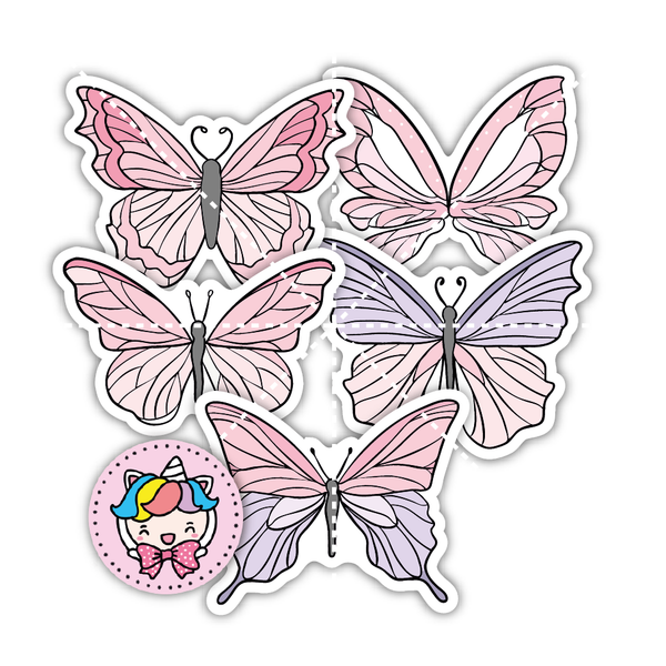 DC0026-Pink butterfly Shimmer diecut kit