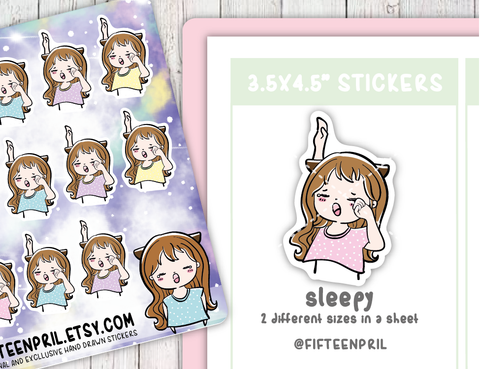 F014-Sleepy Foxigirl sticker