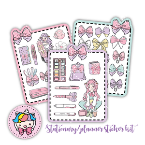 Pastel stationary/planner foxigirl diecuts