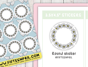 F085-Bee round sticker